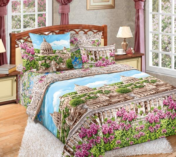 Комплект постельного белья Белиссимо «Римские каникулы». 2-спальный2-спальные<br>Комплект постельного белья Белиссимо Римские каникулы это незаменимый элемент вашей спальни. Человек треть своей жизни проводит в постели, и от ощущений, которые вы испытываете при прикосновении к простыням или наволочкам, многое зависит. Чтобы сон всегда был комфортным, а пробуждение приятным, мы предлагаем вам этот комплект постельного белья. Приятный цвет и высокое качество комплекта гарантирует, что атмосфера вашей спальни наполнится теплотой и уютом, а вы испытаете множество сладких мгновений спокойного сна. В качестве сырья для изготовления этого изделия использованы нити хлопка. Натуральное хлопковое волокно известно своей прочностью и легкостью в уходе. Волокна хлопка состоят из целлюлозы, которая отлично впитывает влагу. Хлопок дышит и согревает лучше, чем шелк и лен. Поэтому одежда из хлопка гарантирует владельцу непревзойденный комфорт, а постельное белье приятно на ощупь и способствует здоровому сну. Не забудем, что хлопок несъедобен для моли и не деформируется при стирке. За эти прекрасные качества он пользуется заслуженной популярностью у покупателей всего мира. Комплект постельного белья Белиссимо Римские каникулы выполнен из набивной бязи. Бязь это одна из самых популярных тканей. Постоянному спросу на такую ткань способствует то, что на протяжении многих лет она остается незаменимой в производстве постельного белья, медицинской одежды, мужских сорочек и даже детских пеленок. Это объясняется уникальными свойствами такой ткани: гладкая и приятная на ощупь, но в то же время очень прочная и стойкая к многочисленным стиркам.<br>