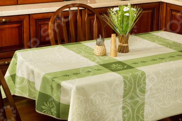 Скатерть Protec Textil Alba «Анет»Скатерти. Салфетки<br>Кухня и столовая пожалуй самые важные комнаты в доме, ведь они становятся местом встреч всей семьи. Уют в этих комнатах зависит не только от правильно подобранного интерьера, мебели или элементов декора. Особую роль в создании комфортной для всей семьи атмосферы играет домашний текстиль. Внимание нужно уделять не только гардинам, шторам и коврам, но так же и скатертям, которые способны мгновенно преобразить вашу комнату, привнести нотку торжественности и непревзойденного лоска. Скатерть Protec Textil Alba Анет станет потрясающим украшением вашего праздничного стола. Скатерть выполнена из качественного и прочного материала поликотонна, который отличается своей практичностью и простотой в уходе. Большим преимуществом данного изделия можно считать специальную пропитку ткани. Она придет ей удивительную устойчивость к воздействию влаги и высоких температур. Такая скатерть не требуется особого ухода, и чтобы удалить пятна достаточно протереть её. Благодаря стильному и красочному дизайну, скатерть станет прекрасным завершающим штрихом любого семейного торжества или простых посиделок в кругу семьи. С ней праздничный стол будет выглядеть ещё более роскошным и богатым!<br>