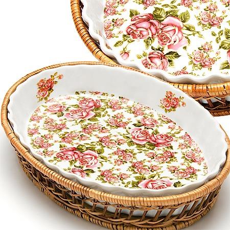 Купить Форма для запекания керамическая Mayer Boch «Утренняя роза». Рисунок: мелкие розы