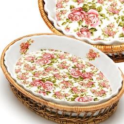 фото Форма для запекания керамическая Mayer Boch «Утренняя роза». Рисунок: мелкие розы