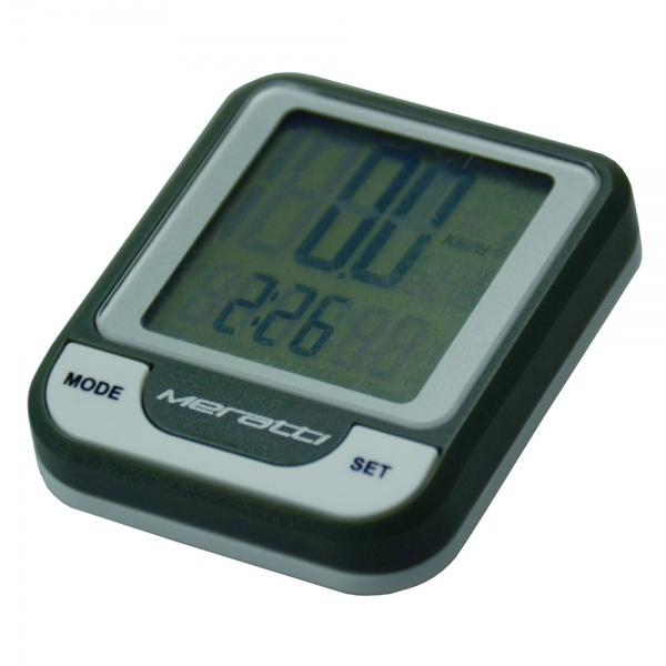 Велокомпьютер беспроводной Meratti C016 - удобный, точный и многофункциональный прибор. Велокомпьютер выполняет 9 основных функций: показывает время часы, минуты, секунды , скорость движения, среднюю и максимальную скорость, тенденцию скорости, общее время поездки, время пробега, общий пробег, а также следит за общим расходом калорий. Прибор имеет простой, понятный и беспроводной интерфейс, который позволяет прикрепить прибор куда угодно. Корпус выполнен из прочного пластика, устойчивого к механическим повреждения, а приятные кнопки из мягкого силикона позволят быстро и без особого труда настроить велокомпьютер под себя.