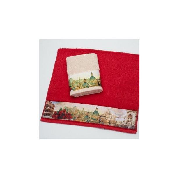 фото Полотенце махровое Романтика Римские каникулы. Размер: 50х90 см. Цвет: красный