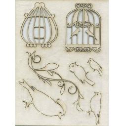 Купить Чипборд Кустарь «Клетки, птицы, орнамент»