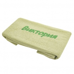фото Полотенце подарочное с вышивкой TAC Виктория. Цвет: зеленый