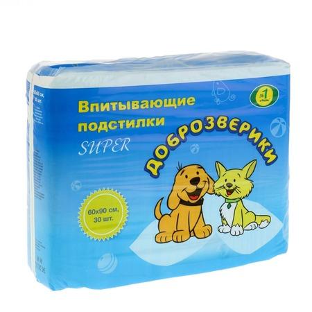 Купить Подстилки впитывающие для домашних животных Пелигрин «Доброзверики» Super