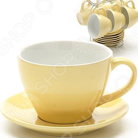 Набор чашек Loraine LR-24862Кружки. Чашки<br>Набор чашек Loraine LR-24862 набор чашек, которые отлично подойдут для использования дома и в офисе. Чашки изготовлены из высококачественной глины и оформлены рисунком. Они выдерживают высокие температуры и их можно ставить в микроволновую печь. Объем каждой чашки 250 мл, как раз большая порция вашего любимого напитка. Если напиток в чашке остыл не отчаивайтесь, вы сможете подогреть его в микроволновой печи. Посуда и кухонные принадлежности компании Loraine это новое поколение кухонной посуды, которое создано ведущими мировыми специалистами с использованием самых современных технологий. Компания выпускает экологически чистые изделия с соблюдением международных норм безопасности, так что вы сможете использовать посуду и кухонные приборы в быту долгие годы без вреда для здоровья. В наборе 6 чашек 6 блюдца и 1 подставка.<br>