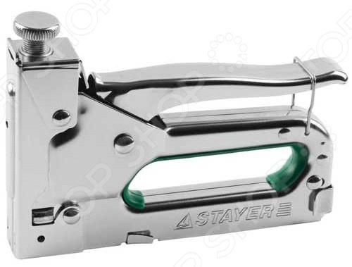 Степлер для скоб и гвоздей Stayer Master 31508_z02Пистолеты. Степлеры строительные<br>Степлер для скоб и гвоздей Stayer Master 31508 z02 степлер с усиленным металлическим корпусом, пластинчатой пружиной и возможностью регулировать силу удара. Степлер предназначен для крепления скобами, гвоздями и штифтами проволочной сетки, а также для обивки мебели и выполнения других видов ремонтных работ. Подходит для следующих видов расходных материалов:  Скобы: тип 140, размер 6-14 мм.  Кабельные скобы: тип 28, размер 9-11 мм.  Гвозди: тип 300, размер 10 14 мм.  Штифты: тип 500, размер 14 мм.<br>