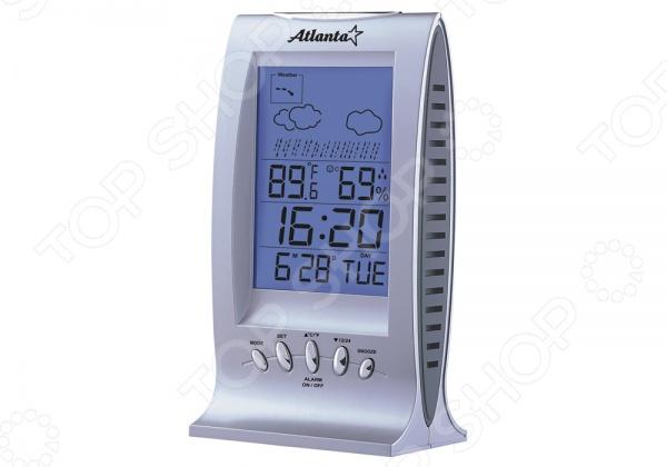 Метеостанция Atlanta ATH-2504Термометры. Метеостанции<br>Метеостанция Atlanta ATH-2504 это достаточно популярный прибор в современном мире. С ее помощью вы сможете всегда контролировать температуру и влажность в помещении, где находитесь. А это будет весьма полезно для семей, где есть дети. У этой модели предусмотрена возможность измерения температуры, сохранения температурных значений, измерения влажности внутри помещения. Кроме этого, здесь есть встроенные часы, будильник и календарь. Результаты всех измерений отображаются на большом дисплее с подсветкой синего или желтого цвета. Метеостанция работает от двух батареек типа АА не входят в комплект .<br>