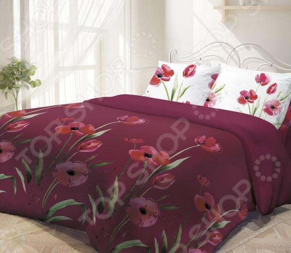 Комплект постельного белья Гармония Маки. 2-спальный2-спальные<br>Комплект постельного белья Гармония Маки это незаменимый элемент вашей спальни. Человек треть своей жизни проводит в постели, и от ощущений, которые вы испытываете при прикосновении к простыням или наволочкам, многое зависит. Чтобы сон всегда был комфортным, а пробуждение приятным, мы предлагаем вам этот комплект постельного белья. Приятный цвет и высокое качество комплекта гарантирует, что атмосфера вашей спальни наполнится теплотой и уютом, а вы испытаете множество сладких мгновений спокойного сна. В качестве сырья для изготовления этого изделия использованы нити хлопка. Натуральное хлопковое волокно известно своей прочностью и легкостью в уходе. Волокна хлопка состоят из целлюлозы, которая отлично впитывает влагу. Хлопок дышит и согревает лучше, чем шелк и лен. Поэтому одежда из хлопка гарантирует владельцу непревзойденный комфорт, а постельное белье приятно на ощупь и способствует здоровому сну. Не забудем, что хлопок несъедобен для моли и не деформируется при стирке. За эти прекрасные качества он пользуется заслуженной популярностью у покупателей всего мира. Комплект постельного белья Гармония Маки выполнен из ткани поплин. Нежная и в тоже время прочная ткань отлично подходит для людей с чувствительной кожей и детей. Частая стирка не изменяет цвет рисунка и не влияет на износостойкость таких изделий.<br>