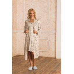Купить Комплект: халат и сорочка для беременных Nuova Vita 115.08. Цвет: экрю