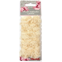 фото Лента с розами тканевыми ScrapBerry's. Цвет: бежевый. Ширина: 2 см
