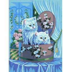 фото Канва с нанесенным рисунком Collection D'Art «Котята в коробке»
