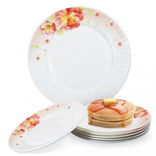 Набор тарелок Loraine LR-23686Наборы посуды для сервировки<br>Любая хозяйка знает насколько важна в кулинарии сервировка и правильная подача блюд. От того как блюдо оформлено, в какой посуде подано и как смотрится на тарелке, зависит едва ли не половина вашего успеха. Набор тарелок Loraine LR-23686 отлично подойдет для сервировки как обеденного, так и праздничного стола. Посуда выполнена из высококачественной стеклокерамики и декорирована оригинальным цветочным рисунком. В комплекте семь тарелок.<br>