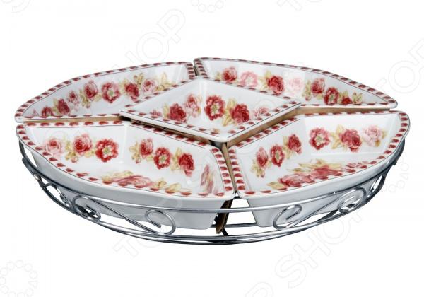 Менажница Rosenberg 8522Менажницы. Пашотницы<br>Менажница Rosenberg 8522 блюдо с несколькими отсеками для хранения сразу нескольких продуктов питания. Такая менажница станет полезным дополнением к набору ваших кухонных принадлежностей. Выполнена в виде декоративной емкости, имеет изящно смоделированную ручку для удобного захвата изделия. Позволит подать на стол салаты, рыбу со всякими соусами и прочее, при этом не смешивая их между собой.<br>
