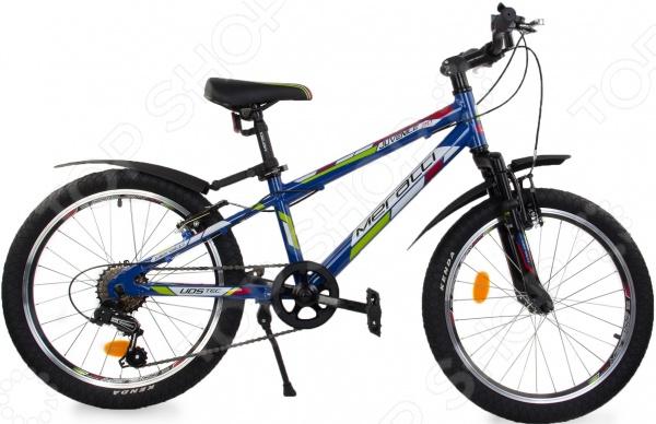 Велосипед горный подростковый Meratti Juvenile20 2016 годаВелосипеды подростковые и детские<br>Велосипед горный подростковый Meratti Juvenile 20 2016 года комфортабельная модель, отличающаяся стильным дизайном и надежностью. Рама изготовлена из прочной стали. Велосипед предназначен для езды по пересеченной местности со скоростными участками, спусками и подъемами. Диаметр колес составляет 20 дюймов, что гарантирует хорошую проходимость даже по самым трудным тропинкам, например, в лесу или с песчаным покрытием. Система регулирования скоростей представлена 6-ю режимами это дает возможность пользователю выбрать необходимую передачу с учетом характера местности, а также делает поездку гораздо более комфортной и снижает усталость водителя. Велосипед рассчитан на детей в возрасте от т8 до 12 лет. Тип тормозов V-образные, тип вилки ZOOM Bravo-327E. Ход вилки 50 мм, тип заднего переключателя Shimano TY21-A. Материал обода алюминий 6061-t6. В качестве комплектующего оборудования имеется подножка, светоотражающие элементы и крылья, которые защищают водителя от пыли и грязи и препятствуют накручиванию одежды на спицы. Геометрия рамы рассчитана на длительные поездки по трудным маршрутам. Специальное сменное крепление, расположенное на заднем переключателе, обеспечивает устойчивость рамы к ударам во время езды. Без сомнений, катание на велосипеде имеет огромное количество плюсов, в том числе и укрепление мышечного корсета, улучшения зрения и координации движений, умение быстро и четко ориентироваться в пространстве, выработка таких качеств, как внимательность и сосредоточенность.<br>