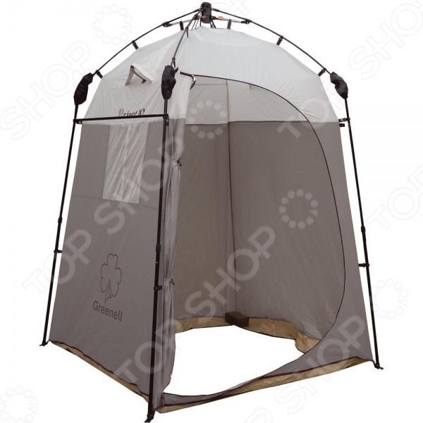 Тент-шатер с автоматическим каркасом NOVA TOUR «Приват XL»Тенты. Шатры<br>Тент-шатер с автоматическим каркасом NOVA TOUR Приват XL универсального использования. Чаще всего подобные конструкции используют в качестве полевого душа. Тент не требует длительной сборки, с процессом установки спокойно может справиться даже один человек, потратив на это считанные минуты. Тент-шатер может быть использован в качестве туалета или места для хранения личных вещей. В верхней части имеется крепления для переносного душа. Для размещения банных принадлежностей и различных мелочей есть внутренние карманы, удобная подвесная полка и перекладина для полотенца. От комаров и прочих насекомых, особенно активных в летнее время, убережет плотная москитная сетка. Прочный материал Poly Taffeta 190T PU 4000 укроет от холодного ветра, дождя и УФ-лучей. Надежные телескопические дуги удержат всю конструкцию даже при сильном ветре. Есть окошко, защищенное сеткой, откуда вы сможете наблюдать за окружающей природой. Тент имеет один большой вход. Высота конструкции 205 см. Размеры дна 155х155 см.<br>
