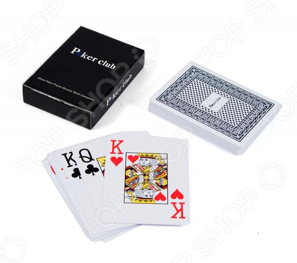 Карты для игры в покер Poker ClubБлэкджек. Покер<br>Карты для игры в покер Poker Club профессиональный комплект карт для азартных игр. Колоду можно брать с собой в дорогу или играть дома с друзьями. Изображения яркие и красочные, классического типа. В набор входят пластиковые игральные карты. Рекомендуется беречь от влаги.<br>