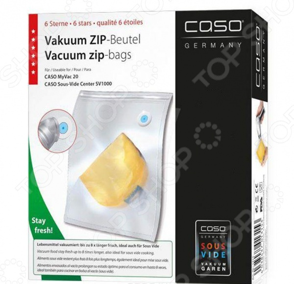 Пакеты для вакуумного упаковщика CASO VC ZIPПакеты для вакуумных упаковщиков<br>Пакеты для вакуумного упаковщика CASO VC ZIP применяются для хранения продуктов, для их надежной транспортировки, а также для приготовления пищи при низкой температуре и при мариновании. При приготовлении в вакуумных пакетах в продуктах сохраняются полезные и питательные вещества, при этом вкусовые качества улучшаются и усиливаются. Пленка повышенной прочности допускает:  Замораживание,  Использование в СВЧ печи,  Готовку по технологии Sous-Vide. Возможно многоразовое использование.<br>