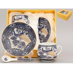Купить Кофейная пара с ложками Elan Gallery «Павлин синий»