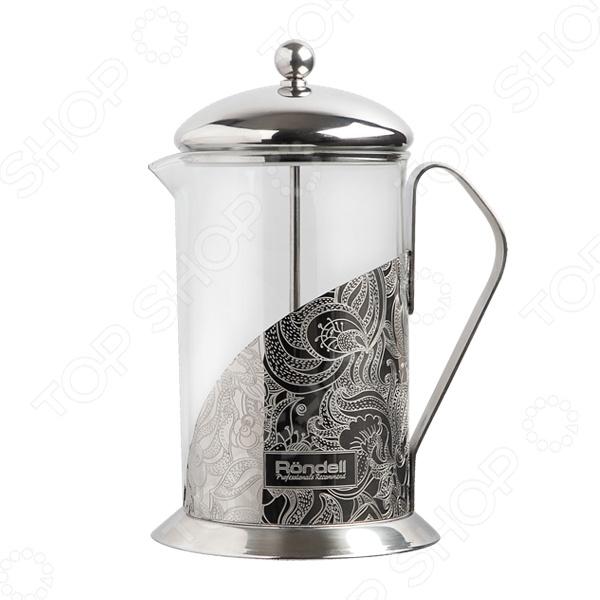 Френч-пресс Rondell FancyФренч-прессы<br>Френч-пресс Rondell Fancy предназначен для приготовления чайных или кофейных напитков. Уникальный и современный дизайн френч-пресса выполнен по технологии глубоко травления. Колба пресса выполнена из жаропрочного стекла, который способен выдерживать высокие температуры. Имеются отметки литража, что облегчает контроль над приготовляемой порцией. Удобная теплосберегающая крышка позволяет надолго сохранить температуру вашего напитка. Удобный и компактный прибор станет незаменимым приспособлением для тех, кто ценит натуральные чайные и кофейные напитки, приготовленные собственными руками. Френч-пресс не рекомендуется мыть в посудомоечной посуде или ставить на газовую плиту.<br>