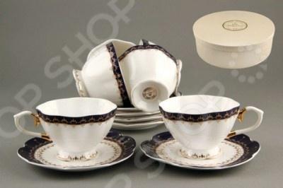 Чайный набор Коралл «Кобальт»Чайные и кофейные наборы<br>Набор чайный Коралл Кобальт - оригинальный набор, который станет прекрасным подарком на свадьбу, юбилей или новоселье. Набор выполнен из высококачественного фарфора с декоративным рисунком и включает в себя 6 чашек и 6 блюдец. Такая посуда станет прекрасным украшением как повседневного, так и празднично сервированного стола. Набор поставляется в подарочной упаковке.<br>