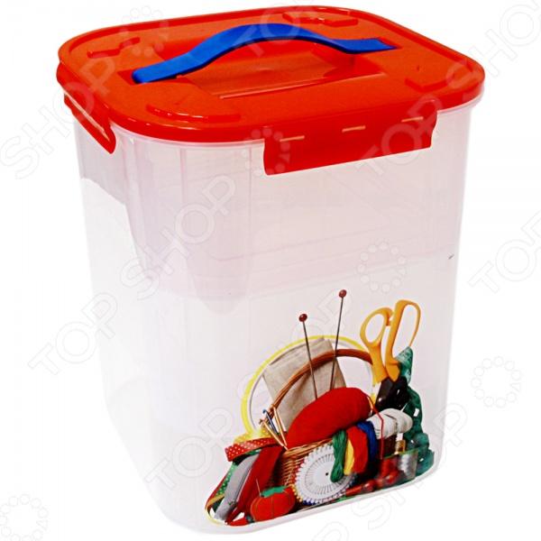 Контейнер для хранения мелочей с вкладышем IDEA Деко. Рукоделие удобный и качественный контейнер, который пригодится в быту как на кухне, так и в спальне ванной комнате или на балконе. В таком контейнере удобно хранить различные мелочи: белье, косметику, наборы для рукоделия, инструменты и даже одежду или игрушки. Контейнер прозрачный, поэтому найти необходимую вещь в нем не составит особого труда. Снабжен удобной крышкой с ручкой. Объем - 10 л.