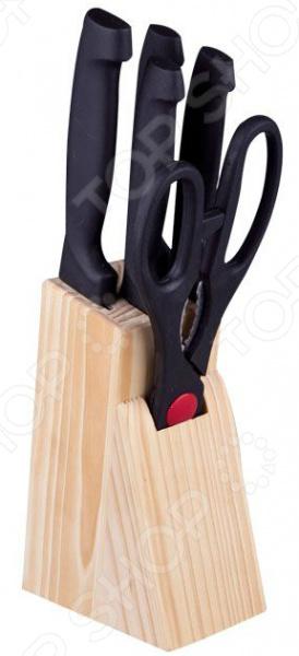 Набор ножей Miolla на подставке 1508901UНожи<br>Для того чтобы приготовить вкусное блюдо необходим целый арсенал из кухонной утвари. И на первом месте стоят ножи, ведь именно с нарезки продуктов начинается сотворение кулинарного шедевра. Практичность и универсальность! Набор Miolla 1508901U включает в себя самые часто используемые на кухне ножи. Лезвия изготовлены из высококачественной нержавеющей стали. Данный материал выбран не случайно, т.к. отличается экологичностью, долговечностью, легкостью заточки и устойчивостью к механическим повреждениям. Ножи идеально подойдут для шинковки, чистки, нарезки овощей и фруктов, а также перерубания мелких костей. Клинки долго остаются острыми, а цельнокованная конструкция гарантирует долговечность изделий. Стоит отметить, что за ножами легко ухаживать, т.к. их можно мыть в посудомоечной машине.  Эргономичная рукоять каждого изделия удобно ложится в ладонь. Рельефная поверхность обеспечит надежный захват и не даст ножу скользить в руке при использовании. Специальное утолщение в основании ручки предотвратит случайное соскальзывание пальцев на режущую часть. В комплекте поставляются 4 ножа, кухонные ножницы и подставка из натурального дерева. Какие преимущества у набора ножей Miolla 1508901U  Универсальность применения.  Гигиеничность.  Легкость ухода.  Современный дизайн. С набором ножей Miolla на подставке 1508901U, вы почувствуете себя профессиональным шеф-поваром, который создает кулинарные шедевры день за днем.<br>