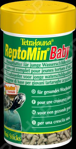Корм для молодых водяных черепах Tetra ReptoMin BabyЗОО товары<br>Корм для молодых водяных черепах Tetra ReptoMin Baby полезная смесь для молодых особей, представлена в виде небольших палочек. Корм обогащен всеми необходимыми питательными веществами, минералами и витаминами, которые способствуют росту костей и формированию панциря. Состав: растительные продукты, рыба и и побочные рыбные продукты, экстракты растительного белка, дрожжи, минеральные вещества, моллюски и раки, масла и жиры. Содержание: белки 39 , жиры 4,5 , клетчатка 2 , вода 9 , кальций 3,3 , фосфор 1,3 . Витамины и добавки: А 29550МЕ кг, D3 1845МЕ кг, цинк 80мг кг.<br>