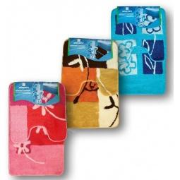 фото Комплект ковриков для ванной и туалета VORTEX на латексной основе «Цветы». В ассортименте