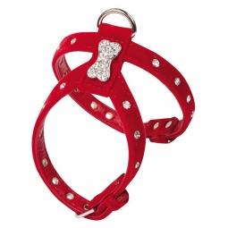 фото Шлейка для собак DEZZIE «Косточка и стразы». Цвет: красный. Размер: L. Размер в груди: 34-40 см. Размер в шее: 22-28 см