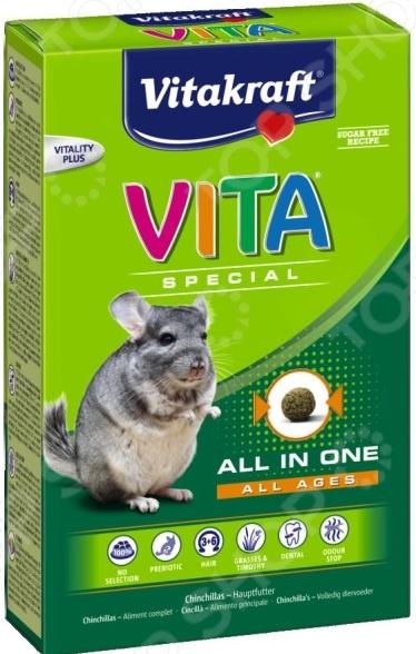 Корм для шиншилл Vitakraft Vita Special All in OneКорм<br>Корм Vitakraft Vita Special All in One предназначен специально для шиншилл всех возрастов. Ваш питомец будет в восторге от своего нового блюда. Семена, зерна и овощи все эти компоненты не только разнообразят рацион пушистого зверька, но и обогатят его полезными витаминами, питательными веществами, микро- и макроэлементами. Высокое содержание клетчатки поможет правильному пищеварению. Сбалансированное лакомство легко усваивается, а также способствует равномерному стачиванию зубов домашнего любимца. Данный корм можно давать как основной, ведь он содержит все необходимое, чтобы грызун был сытым и здоровым. Основные преимущества кормаVitakraft Vita Special All in One:  Уход за ротовой полостью и зубами грызуна;  Бережно высушенные овощи обеспечивают прекрасный вкус;  Инулин обеспечивает здоровье кишечной микрофлоры;  Целый комплекс витаминов для поддержания здоровья грызуна;  Омега 3 и Омега-6 для здоровой кожи и шелковистой шерстки;  Комплекс Стоп-запах снижает запах от выделений.<br>