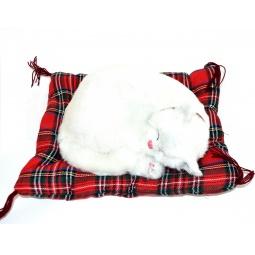 фото Мягкая игрушка интерактивная Zzz «Дышащая Кошка белая на коврике»