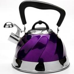 фото Чайник со свистком Mayer&Boch Mirror Planes. Цвет: фиолетовый, серебристый, черный