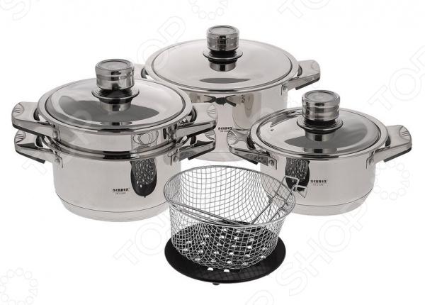 Набор посуды для готовки Bekker De Luxe BK-2865Наборы посуды для готовки<br>Набор посуды для готовки Bekker De Luxe BK-2865 комплект необходимой кухонной утвари в арсенале любой хозяйки. Качественный и долговечный набор предназначен для приготовления здоровой и экологически чистой пищи. В набор входят 3 кастрюли с различным объемом, подходящие к ним крышки, пароварка и специальная корзина для жарки фритюрница , ручка которой снимается. Изделия выполнены из качественной нержавеющей стали марки 18 10, которая проходит тщательную проверку качества. Этот технологичный материал обеспечивает не только быстрый нагрев, но и долгое сохранение тепла, поэтому ваши блюда смогут дойти самостоятельно, сохраняя все ароматы и вкусовые качества. Кастрюли с внутренней стороны оформлены мерной шкалой. Другой особенностью изделий является их капсулированное дно, которое обладает прекрасными термоаккумулирующими характеристиками. На стальных крышках расположены термодатчики. Набор обеспечивает около 40 сохранения энергии при приготовлении блюд. Кастрюли, сковорода и ковш оформлены металлическими ручками с нижними бакелитовыми накладками. Посуда подходит для приготовления на различных варочных поверхностях, кроме индукционных плит. Гладкая, почти зеркальная, поверхность придает набору стильный и современный внешний вид, поэтому готовка с таким набором будет не только удобной, но и эстетичной.<br>