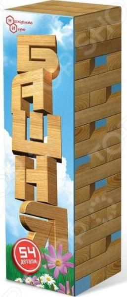 Игра настольная Нескучные игры «Башня»Логические и стратегические настольные игры<br>Игра настольная Нескучные игры Башня с достаточно простыми правилами. Принцип ее заключается в следующем: из имеющихся деревянных брусков необходимо построить башню, при этом каждый следующий этаж создается с чередованием направления кладки. После того, как мини-строение возведено, участники начинают один из другим вытаскивать по одному бруску, располагая их на верху башни. Победит тот игрок, который достанет брусок последним, при этом не разрушив конструкцию. От участников требуется аккуратность, внимательность и сосредоточенность. Размер бруска 75х25х14 мм, размер башни 75х75х263 мм.<br>