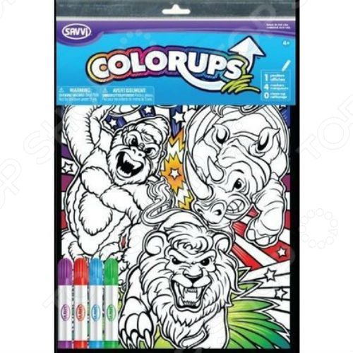 Раскраска с фломастерами Savvi «Дикие животные» савельев е худ раскраска с накл для дет сада дикие звери дом животные