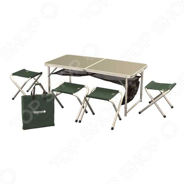 Набор складной мебели Greenell FTFS-1 это удобный, компактный и легко переносимый набор, который можно брать с собой на рыбалку, дачу или поход. Набор состоит из 4 табуреток и стола, где можно обсуждать результаты охоты, кушать и проводить время на природе. Столик не занимает много места и быстро складывается. Встроен механизм быстрой установки и сборки. Каркас выполнен из матового алюминия. Нагрузка на табуреты не должна превышать 100 кг.