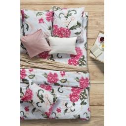 фото Комплект постельного белья Сова и Жаворонок Premium «Пион Скарлет». 1,5-спальный