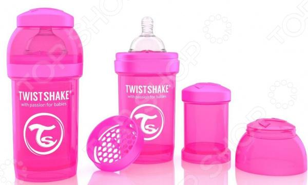 Бутылочка для кормления Twistshake антиколиковаяБутылочки<br>Бутылочка для кормления Twistshake антиколиковая верный помощник всех родителей. В вопросе кормления малышей следует быть крайне внимательными и аккуратными, так как их пищеварительная система работает недостаточно стабильно. Самой распространенной проблемой являются колики, приносящие ребенку крайний дискомфорт. С этими трудностями легко поможет справиться бутылочка с сеткой для смешивания. Она устранит комки и пузыри при смешивании, а также предотвратит засорение пищей соски. Благодаря особой технологии Twist Flow значительно снижается вероятность появления колик у малышей и обеспечивается равномерный поток смеси. Бутылочка имеет достаточно широкое горлышко, позволяющее легко очищать ее от остатков пищи. Эргономичный дизайн емкости рассчитан специально на маленькие детские ручки во время приема пищи ребенок с легкостью сможет удерживать емкость. А ее яркая расцветка поможет малышу сконцентрироваться и не отвлекаться при поедании смеси. Все изделия выполнены из высококачественного полипропилена, соска из силикона. Никаких вредных токсичных веществ, которые могли бы навредить крохе. В комплекте также представлен небольшой контейнер для хранения сухой смеси. Бутылочка Twistshake идеально подходит для использования в сочетании с регулярным грудным вскармливанием. В комплекте:  бутылочка;  контейнер для сухой смеси;  соска;  крышка для контейнера;  крышка для бутылочки.<br>