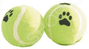 Игрушка для собак Beeztees «Мячик теннисный с принтом. Лапы» игрушка для собак beeztees ослик 619691