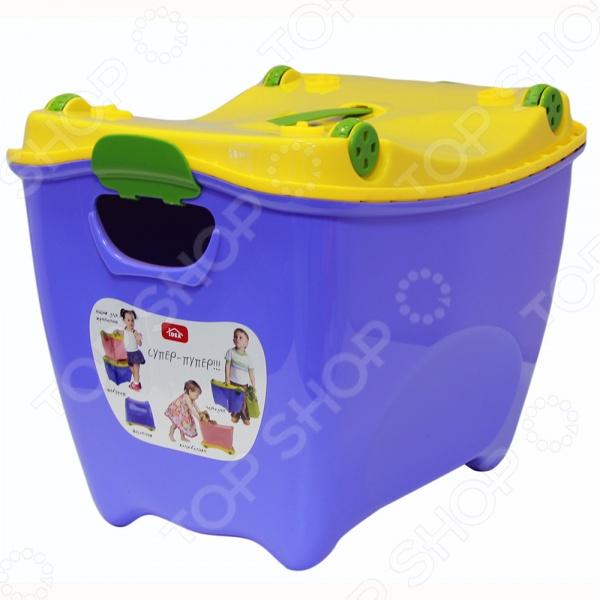 Ящик детский IDEA Супер Пупер незаменимый атрибут для детской комнаты. В нем удобно хранить одежду, игрушки и различные аксессуары для вашего малыша. Качественная и удобная модель оснащена непрозрачной крышкой. Яркий ящик обязательно понравится вашему ребенку и станет красочным акцентом в интерьере детской комнаты.