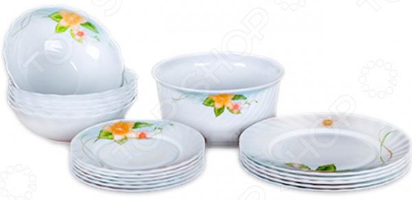 Сервиз столовый Miolla «Арина»Наборы посуды для сервировки<br>Столовый сервиз представляет собой настоящее украшение и каждый ваш обед будет незабываемым. Вне зависимости от того, что вы собираетесь приготовить, блюдо будет в несколько раз вкуснее за счёт красивой подачи. Красота в каждый дом! Сервиз столовый Miolla Арина это сочетание качества и стильного дизайна. Он станет прекрасным дополнением к комплекту ваших кухонных принадлежностей и подойдет для сервировки как обеденного, так и праздничного стола. Посуда выполнена из высококачественной стеклокерамики и декорирована оригинальным цветочным рисунком. Сервиз рассчитан на шесть персон:  чашка 250 мл - 6 шт,  блюдце 14 см - 6 шт,  тарелка десертная 18 см - 6 шт,  тарелка обеденная 23 см - 6 шт,  тарелка суповая 18 см - 6 шт,  салатник 14 см -6 шт,  салатник 19 см,  блюдо овальное 25 см.  После использования вы можете очистить тарелки в посудомоечной машине или традиционным способом. Продукция компании Miolla отличается особым дизайном и долговечностью своих изделий. Производитель гарантирует качество и оригинальность, которые не останутся незамеченными вашими гостями. Компания Miolla постоянно пополняет ассортимент своей продукции новыми изобретениями, которые помогут вам создать атмосферу комфорта и уюта, позволят получать удовольствие от приготовления каждого блюда, но при этом тратить меньше времени на приготовление!<br>