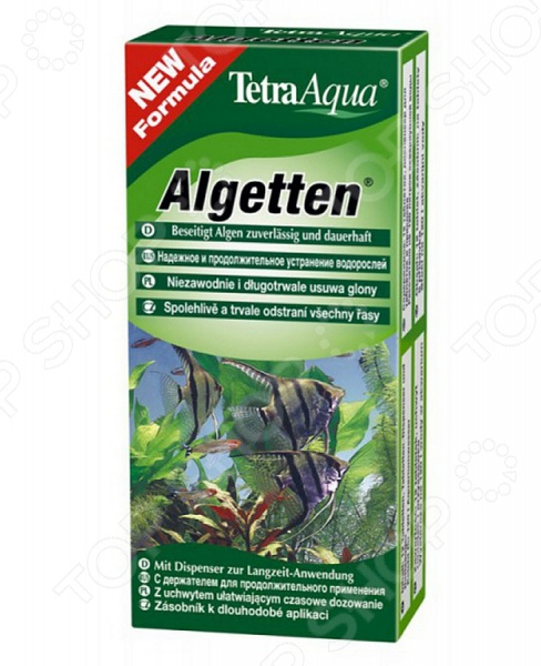Средство против водорослей Tetra TetraAgua AlgettenЧистка аквариума<br>Водоросли в аквариуме могут доставлять беспокойство вашим рыбкам. Они могут не только тормозить рост питательных растений, но и негативно влиять на общее биологическое равновесие в аквариуме. Средство против водорослей Tetra TetraAgua Algetten выпускается в виде медленно растворимых таблеток для длительного контроля за ростом и развитием водорослей. Они легко крепятся к стенке аквариума при помощи специального держателя и оказывают эффективное воздействие на микрофлору в течении 4 недель. Активная формула не повреждает растения и не наносит им вреда, сохраняя при этом все необходимые питательные вещества. Внимание! При использовании средства соблюдайте дозировку. Не используйте более 1 таблетки на 20 литров аквариумной воды.<br>