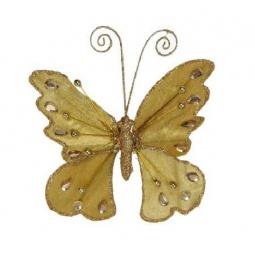 фото Елочное украшение Christmas House «Бабочка на прищепке». Цвет: золотистый