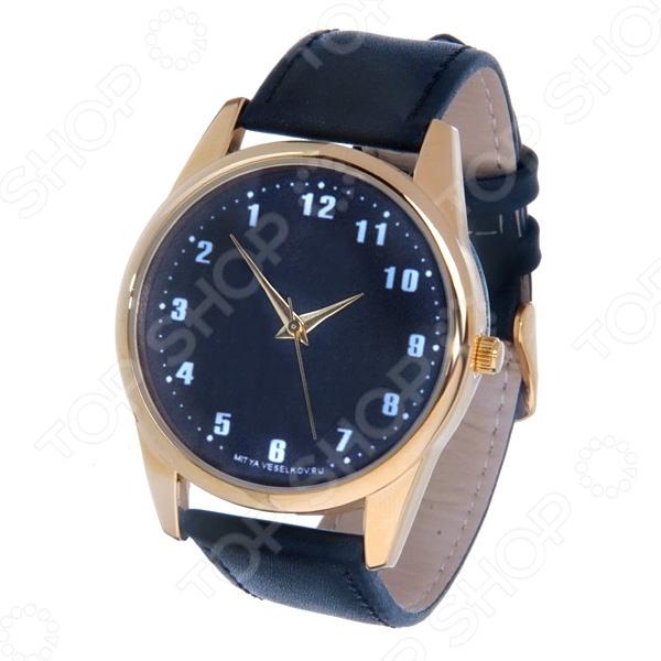 Часы наручные Mitya Veselkov «Обратный циферблат» Gold