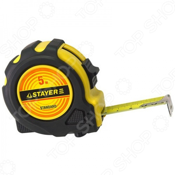 Рулетка Stayer Standard 34025Рулетки. Мерные ленты<br>Рулетка Stayer Standard 34025 будет просто незаменима при строительных и ремонтных работах как по дому, так и на производстве. Корпус из ABS-пластика надежно защищает полотно модели, а мерительное полотно имеет особое напыление, что гарантирует длительный срок службы инструмента даже в условиях интенсивной эксплуатации. Нанесенная шкала, подвижный подвижный крюк и специальный фиксатор, обеспечат высокий уровень точности во время измерений.<br>