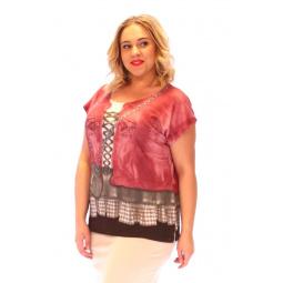 Блуза Счастье «Лоя». Цвет: красный