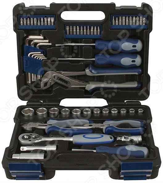 Набор инструментов автомобильный FIT 65208Наборы инструментов<br>Набор инструментов автомобильный FIT 65208 практичный и универсальный набор, который предназначен для обслуживания и ремонта автомобилей и их деталей. С помощью входящих в набор торцевых головок вы сможете быстро открутить или завинтить резьбовые крепления. Благодаря тому, что все элементы выполнены из высококачественной хром-ванадиевой стали и штампованной термообработанной инструментальной стали, набор прослужит вам долго и качественно. Специальный динамический профиль насадок эффективно снимает все пиковые нагрузки с краев граней, что также продлевает срок их службы. Для более удобной транспортировки и хранения предусмотрен пластиковый кейс. Теперь этот практичный набор может быть всегда под рукой в вашем салоне или багажнике автомобиля.<br>