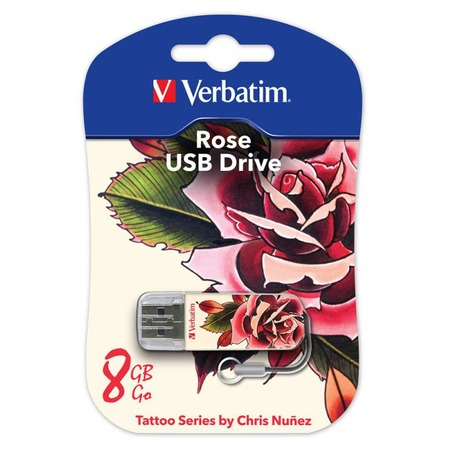 Купить Флешка Verbatim Store 'n' Go Mini Tattoo Rose 8Gb