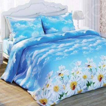 Комплект постельного белья с эффектом 3D Любимый дом Ромашки. 1,5-спальный
